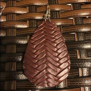 Weave Faux Leather Earrings- Brown
